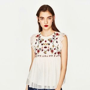 ZARA White Floral Embroidered Top
